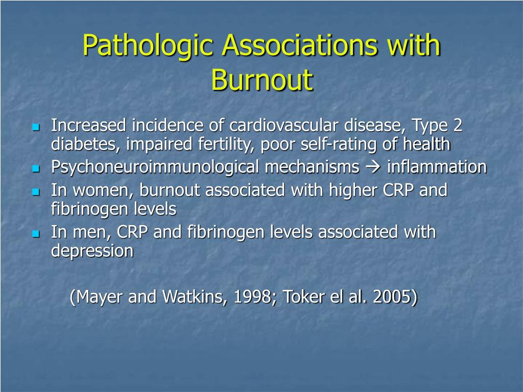 Pathologic Associations with Burnout