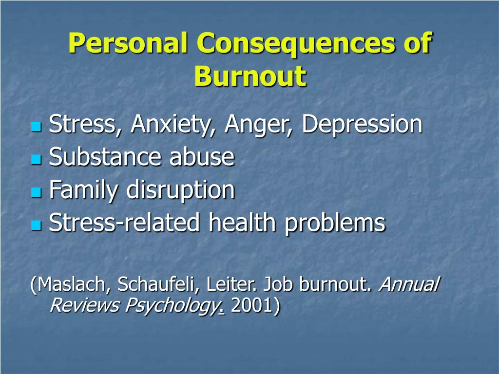 Personal Consequences of Burnout