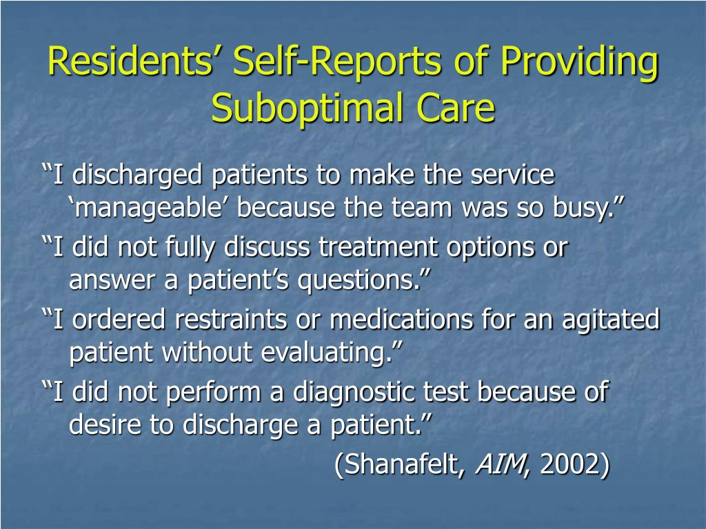 Residents' Self-Reports of Providing Suboptimal Care