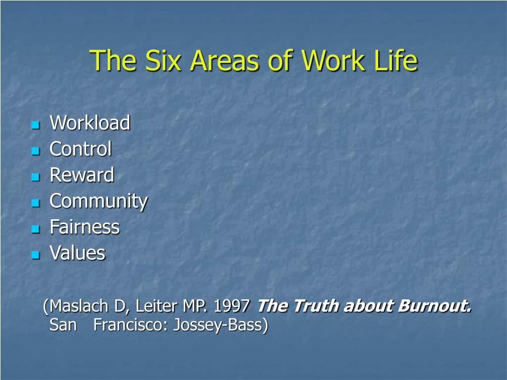 The Six Areas of Work Life