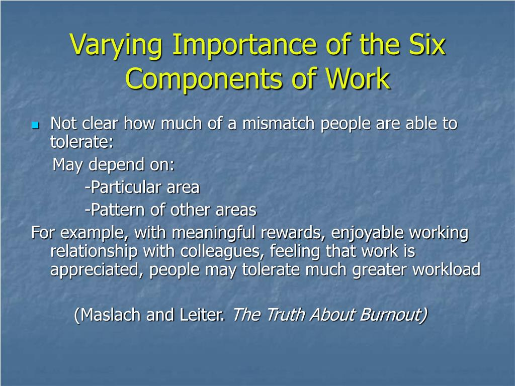 Varying Importance of the Six Components of Work