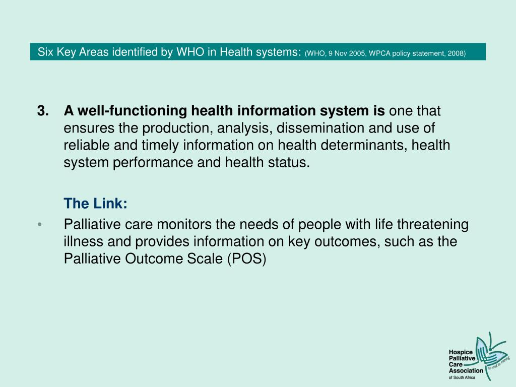 Six Key Areas identified by WHO in Health systems: