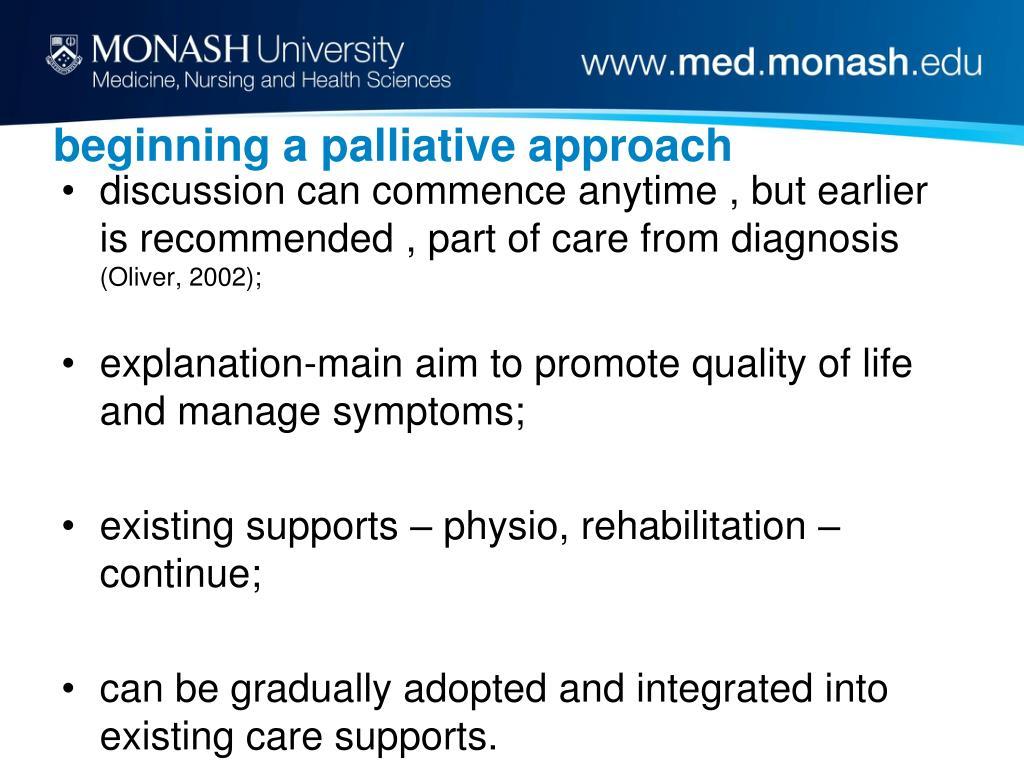 beginning a palliative approach