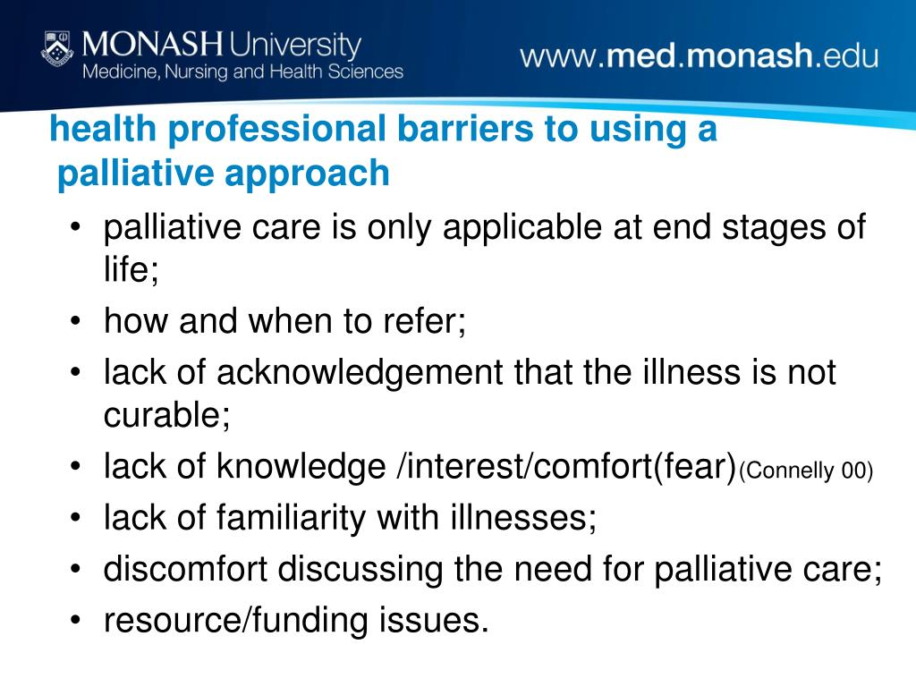health professional barriers to using a palliative approach