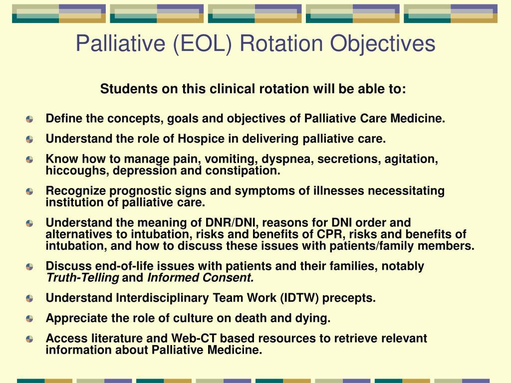 Palliative (EOL) Rotation Objectives