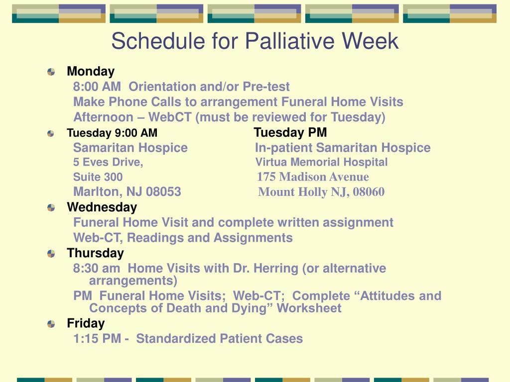 Schedule for Palliative Week