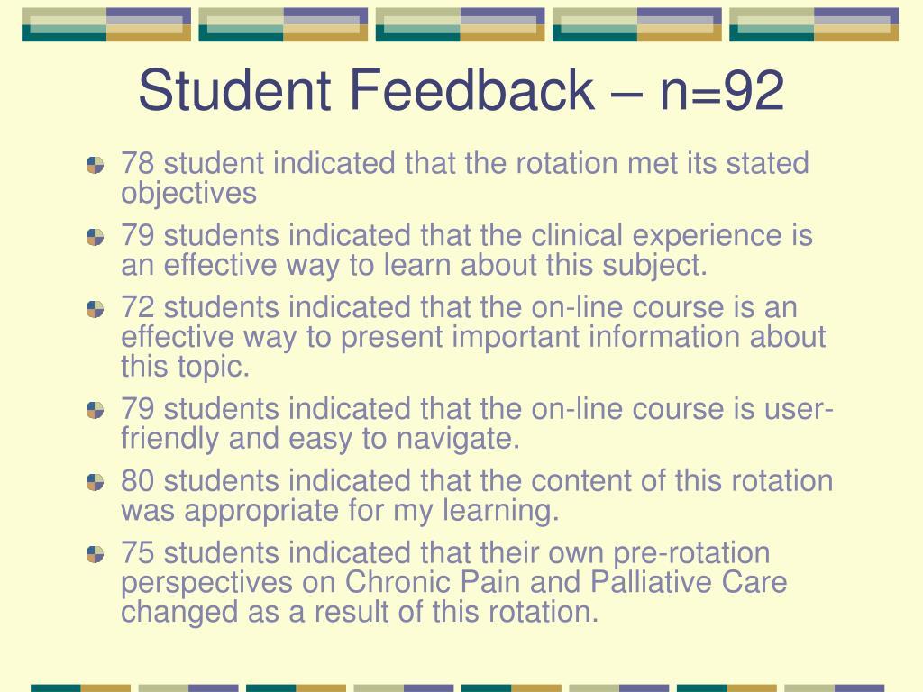 Student Feedback – n=92