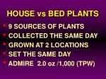 house vs bed plants