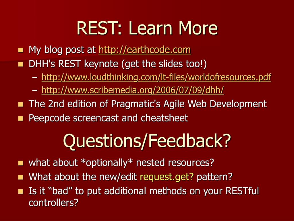 REST: Learn More