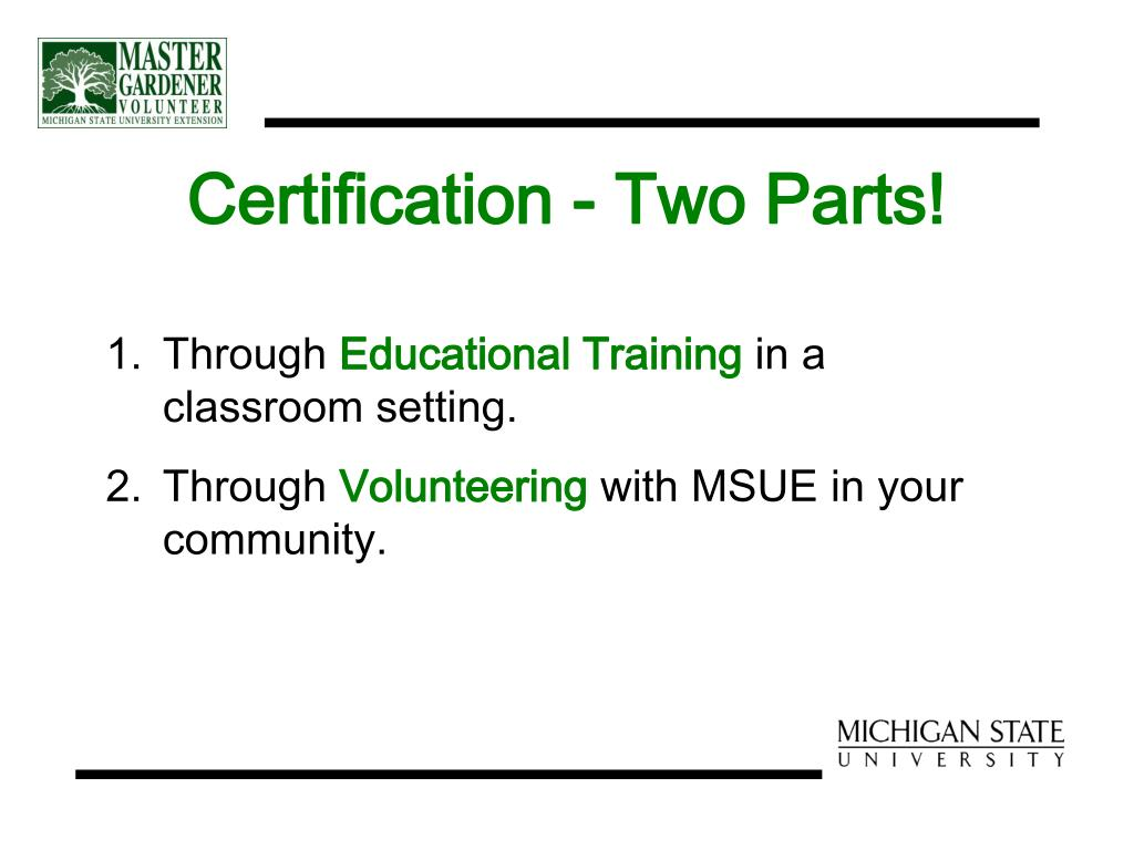 Certification - Two Parts!