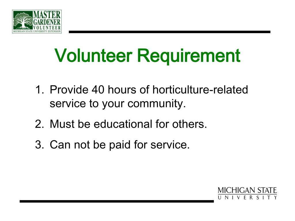 Volunteer Requirement