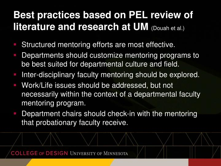 Best practices based on PEL review of literature and research at UM