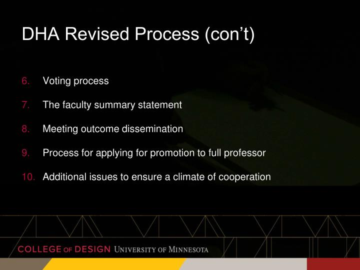 DHA Revised Process (con't)