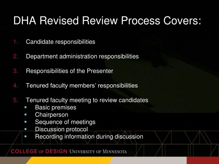 DHA Revised Review Process Covers: