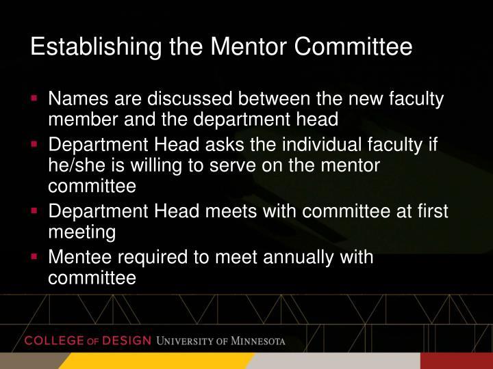 Establishing the Mentor Committee