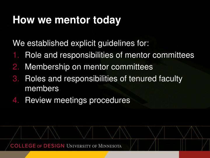 How we mentor today