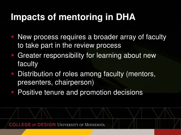 Impacts of mentoring in DHA