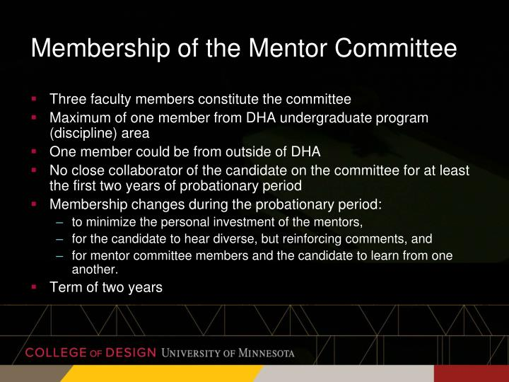 Membership of the Mentor Committee