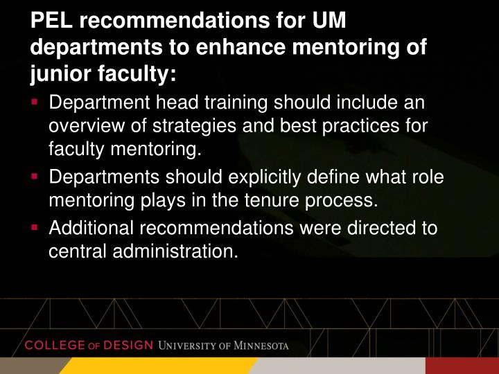 PEL recommendations for UM departments to enhance mentoring of junior faculty: