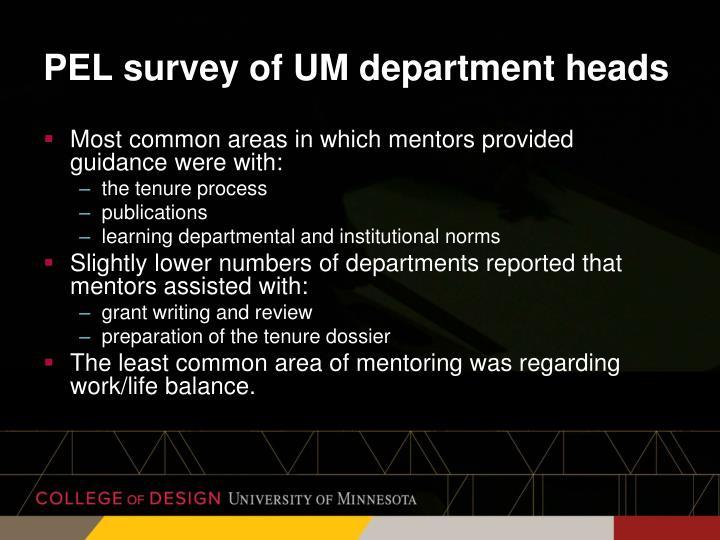 PEL survey of UM department heads