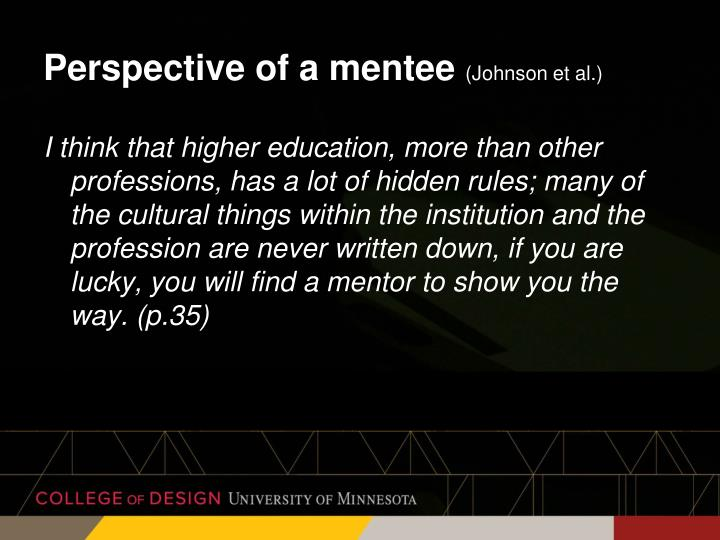 Perspective of a mentee