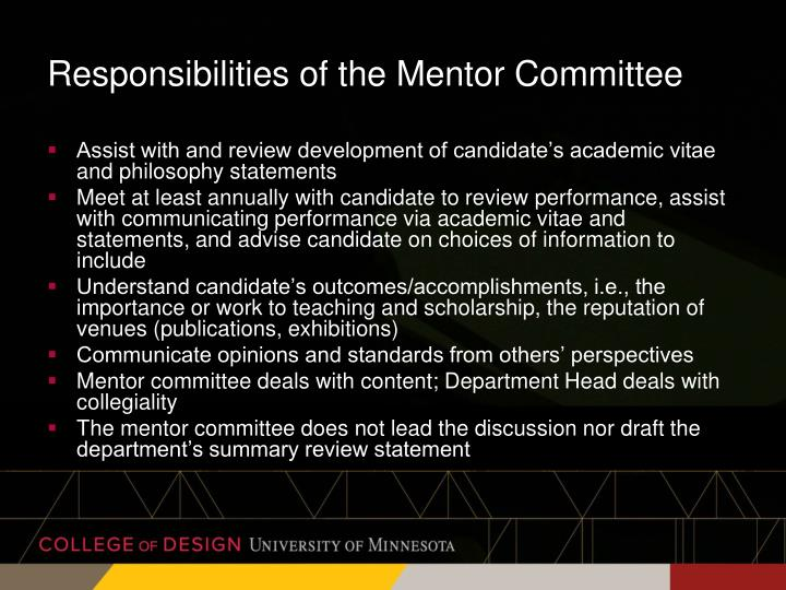 Responsibilities of the Mentor Committee
