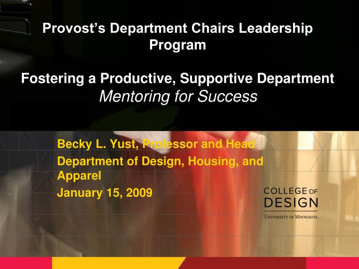 Provost's Department Chairs Leadership Program