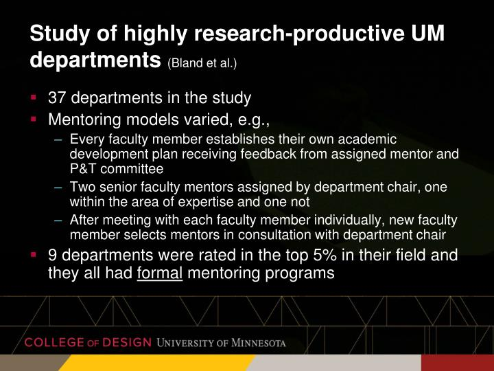 Study of highly research-productive UM departments
