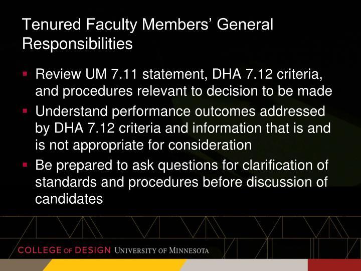 Tenured Faculty Members' General Responsibilities