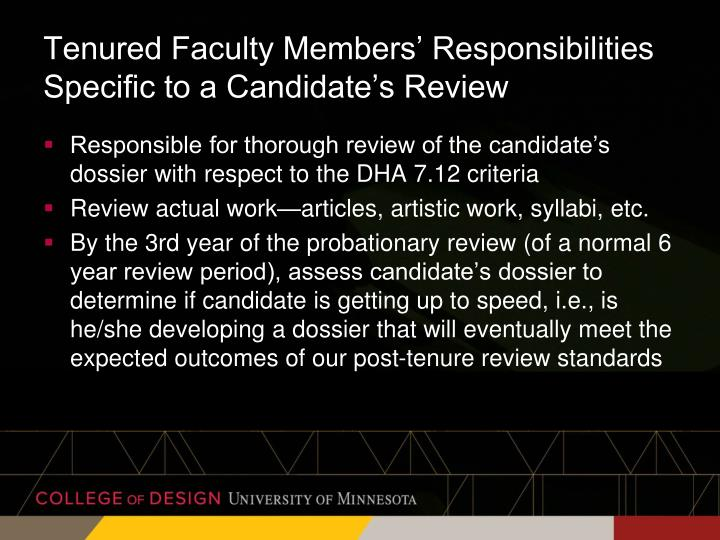 Tenured Faculty Members' Responsibilities Specific to a Candidate's Review