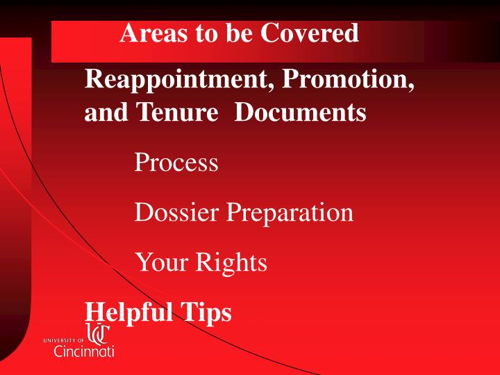 Areas to be Covered