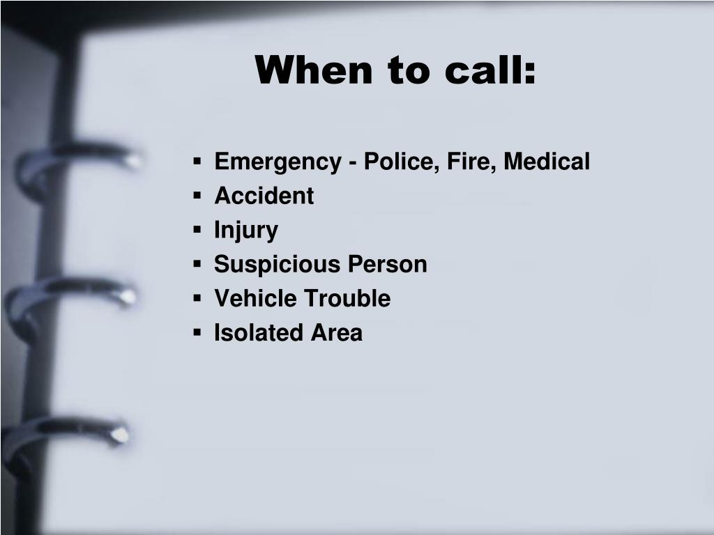 When to call: