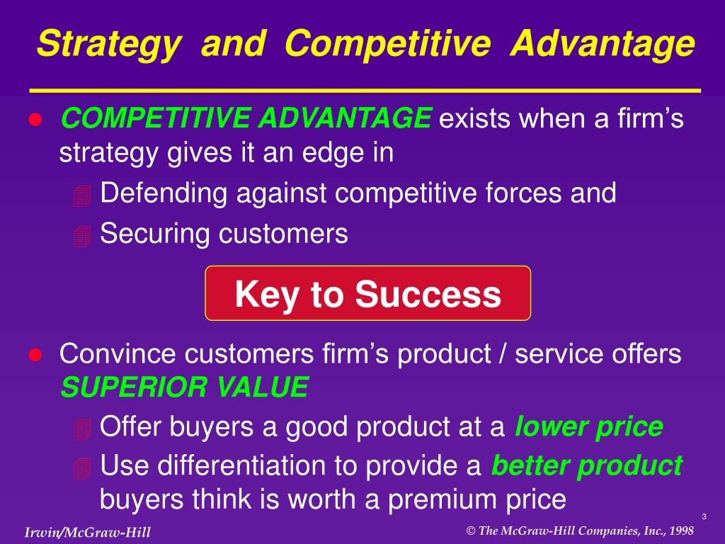 business strategy for competative advantage The main challenge for business strategy is to find a way of achieving a sustainable competitive advantage over the other competing products and firms in a.