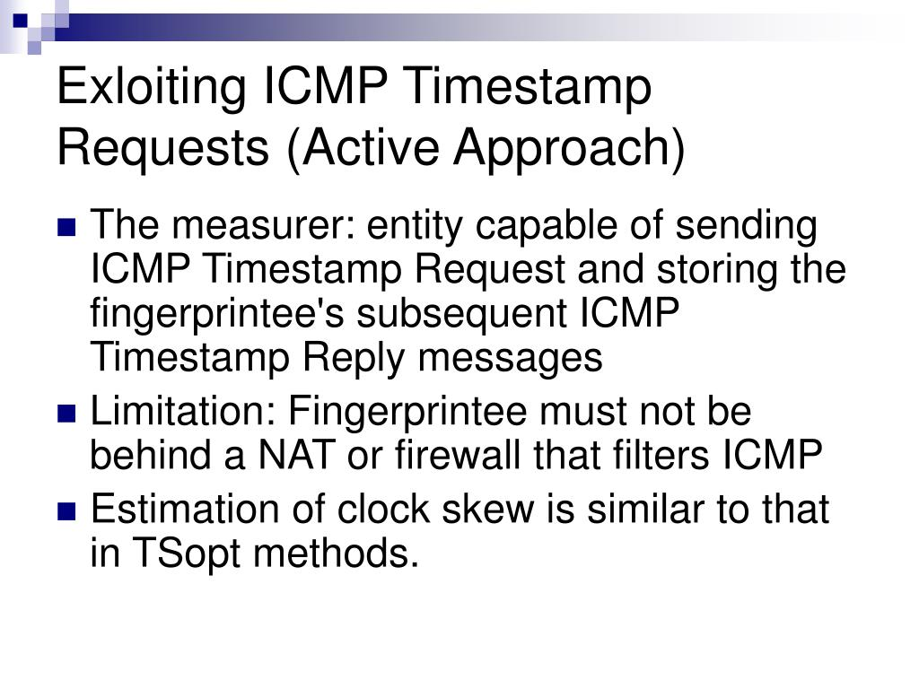 Exloiting ICMP Timestamp Requests (Active Approach)