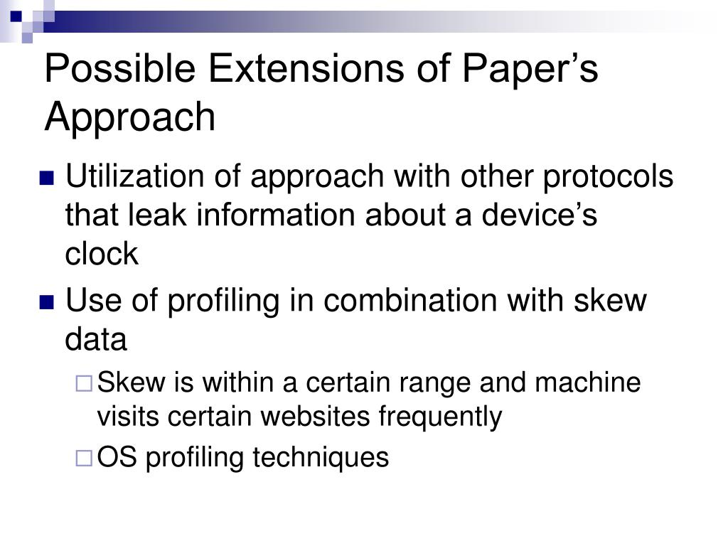 Possible Extensions of Paper's Approach