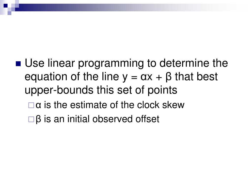 Use linear programming to determine the equation of the line y =