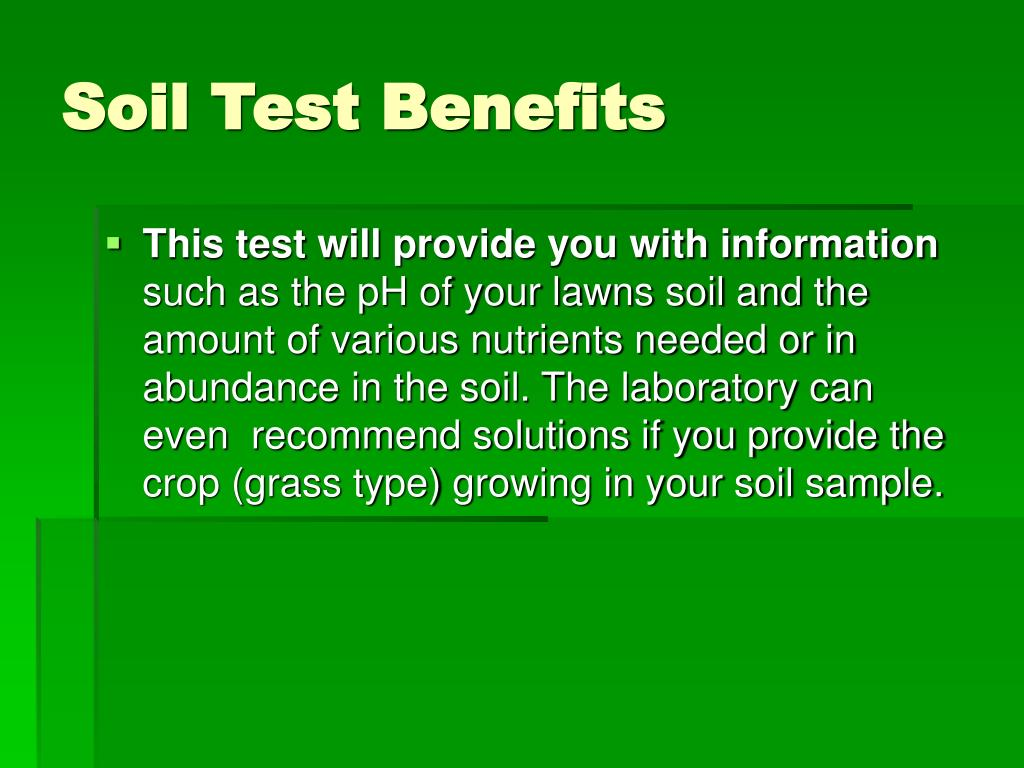 Soil Test Benefits