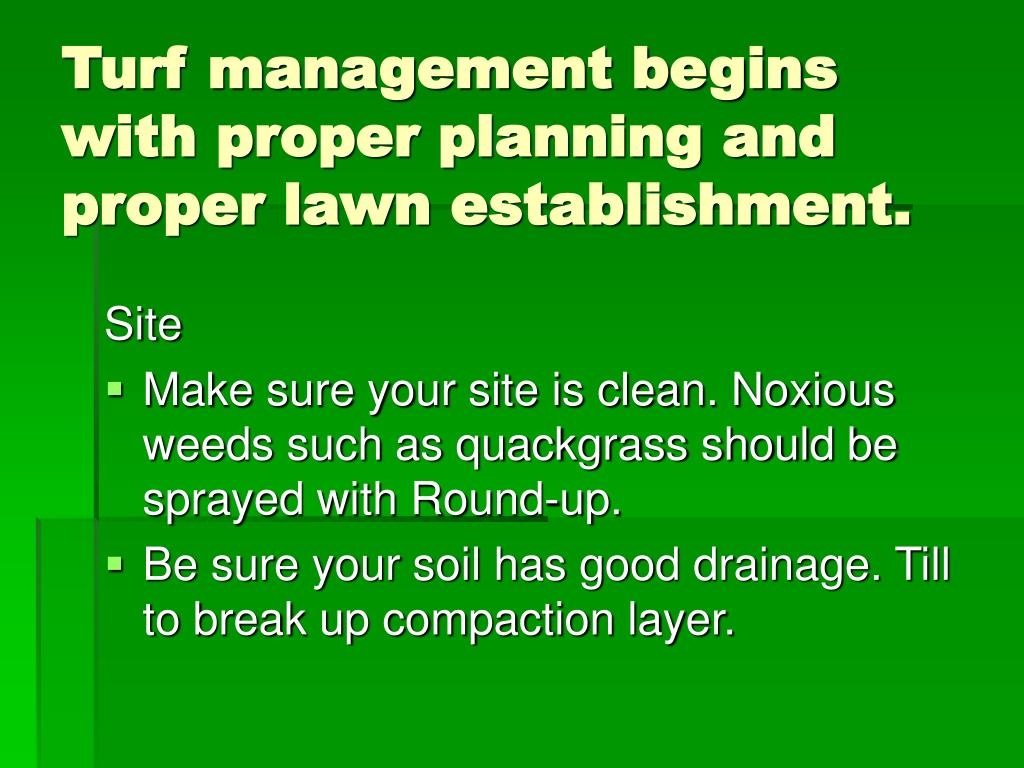 Turf management begins with proper planning and proper lawn establishment.