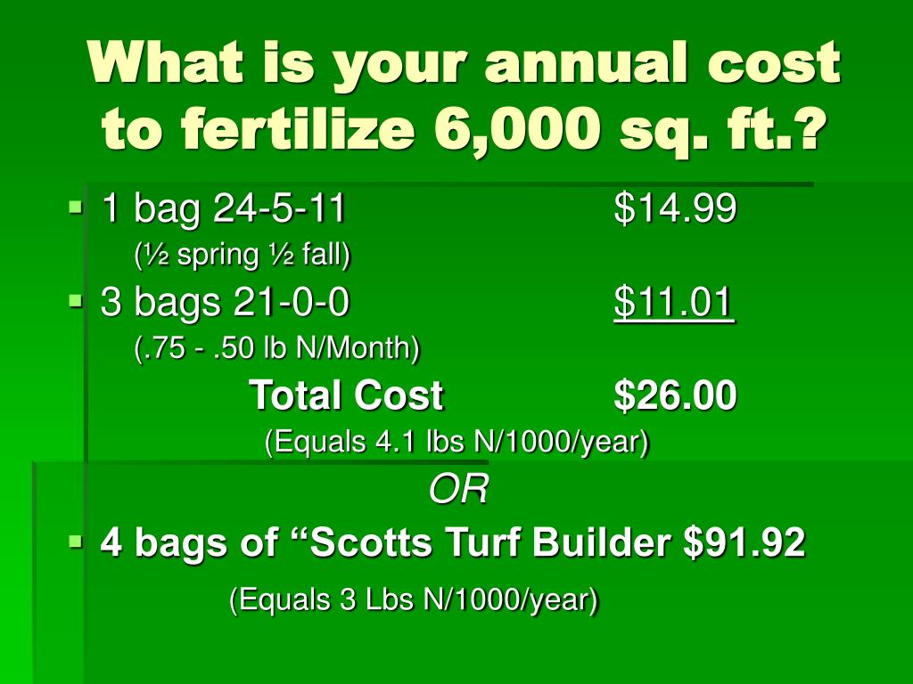 What is your annual cost to fertilize 6,000 sq. ft.?