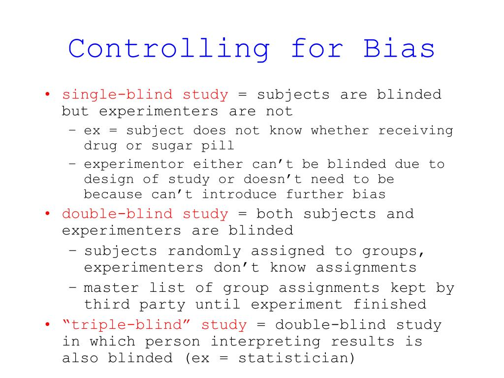 Controlling for Bias