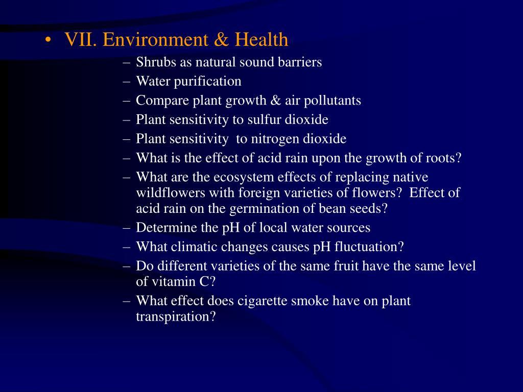 VII. Environment & Health