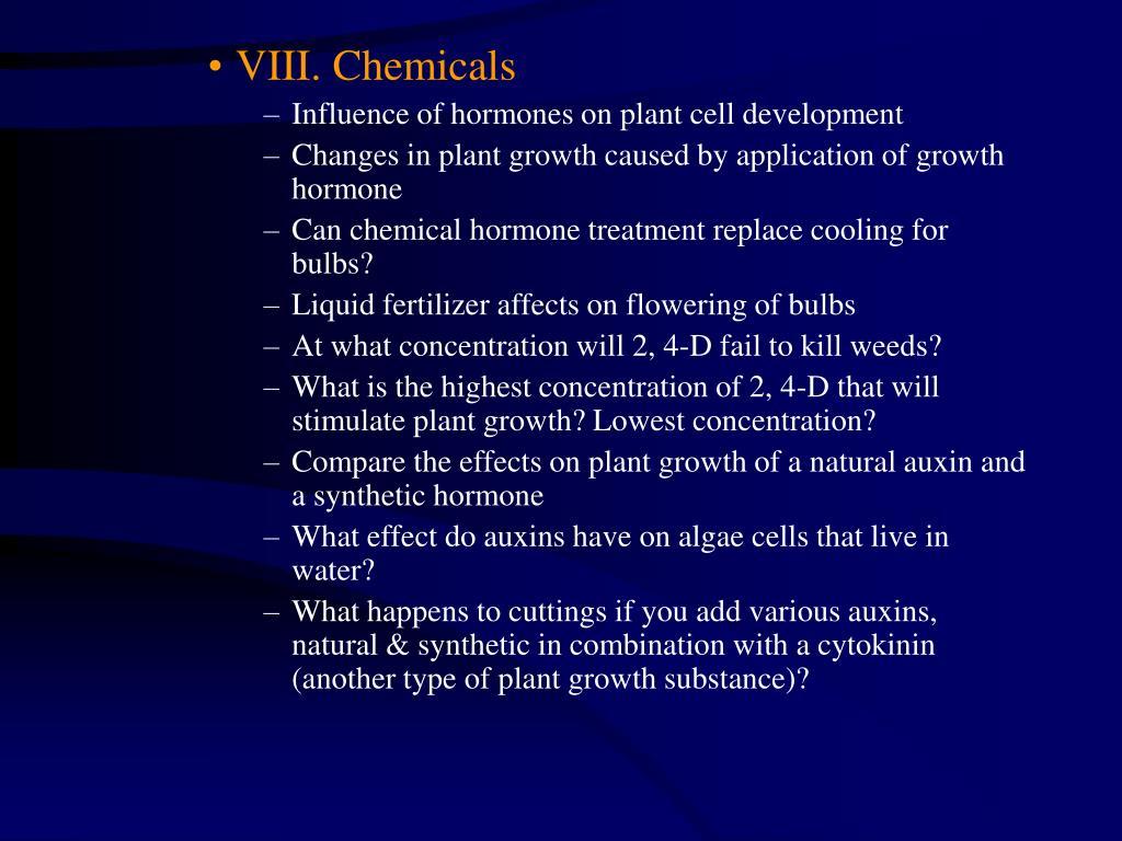 VIII. Chemicals