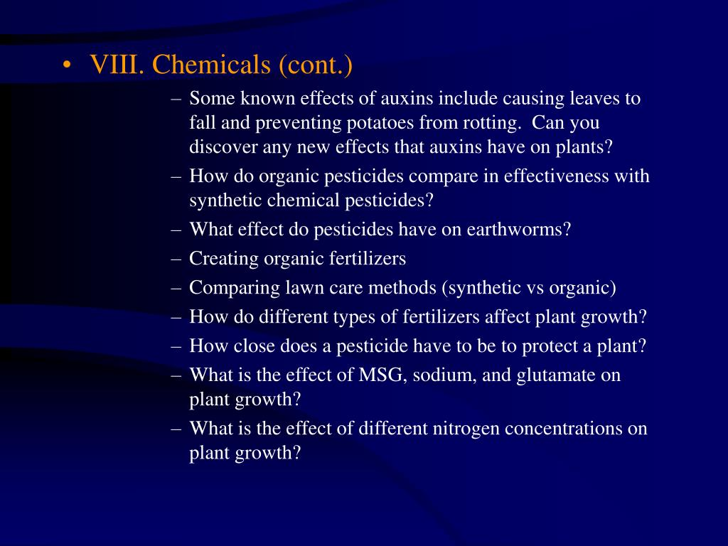 VIII. Chemicals (cont.)