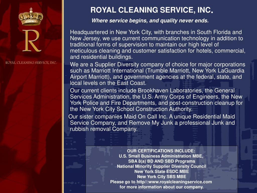 ROYAL CLEANING SERVICE, INC