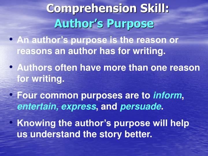 Comprehension Skill:
