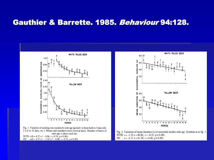 Gauthier & Barrette. 1985.