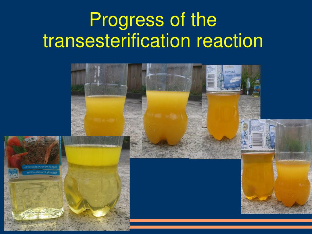 Progress of the transesterification reaction