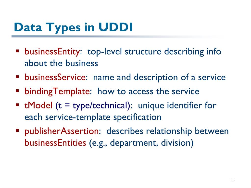 Data Types in UDDI