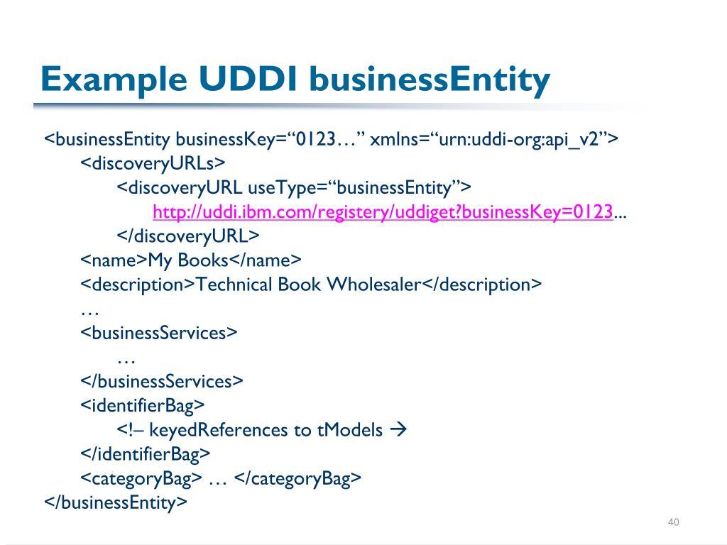 Example UDDI businessEntity