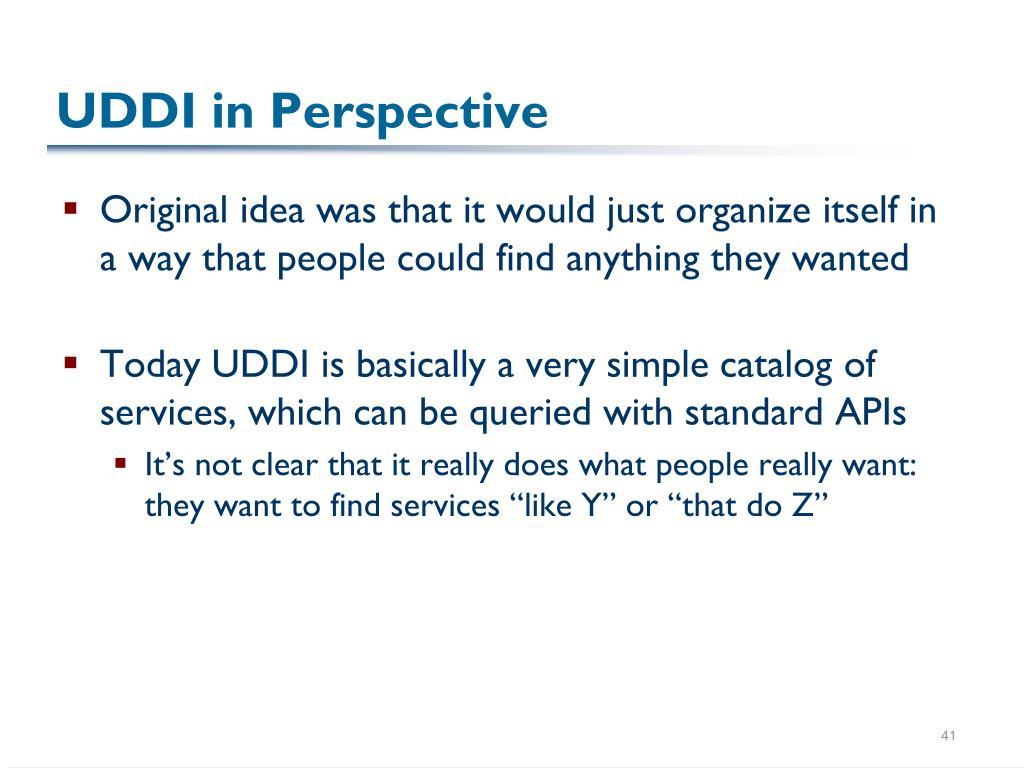 UDDI in Perspective